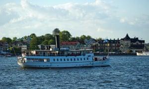 A boat en route to Vaxholm, Stockholm archipelago, Sweden.