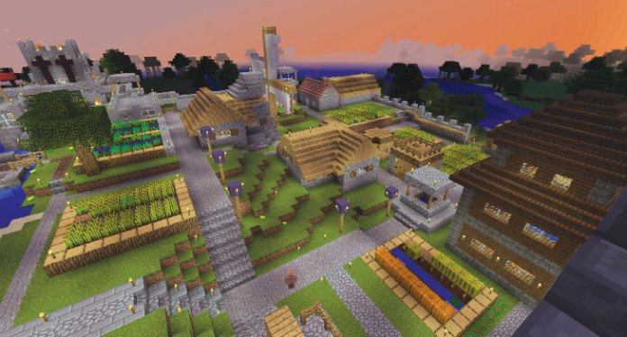 an image of a town from the videogame Minecraft