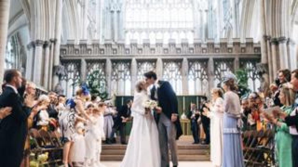 Handout photo of the wedding of singer Ellie Goulding to Caspar Jopling at York Minster.