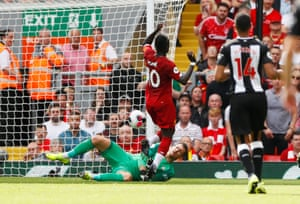 Liverpool's Sadio Mane in action before scoring their second goal.