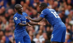 Kante celebrates with Kurt Zouma.