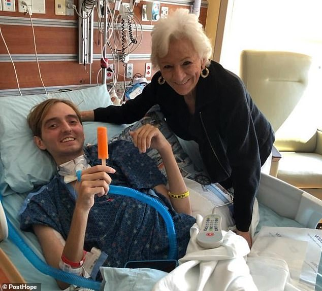 McKnight was admitted to the ICU and diagnosed with 'severe pneumonia' and adenovirus. Pictured: McKnight in the hospital with family