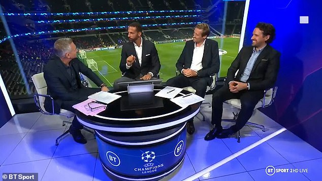 In the hot seat:The former Manchester United and England legend was fulfilling his punditry duties alongside Owen Hargreaves, Peter Crouch and BT Sports host Gary Lineker
