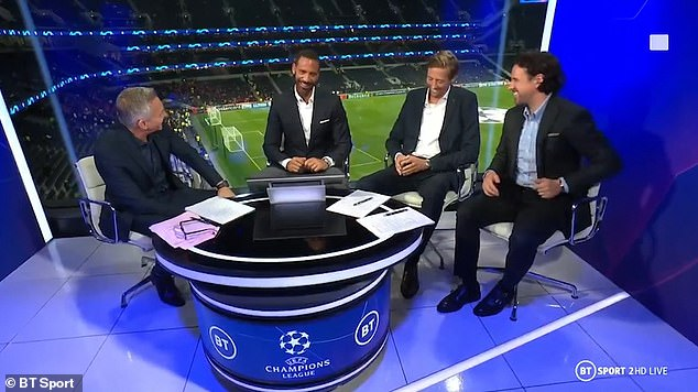 Banter:With tongue firmly in cheek, Lineker prompted loud laughter from the studio as he joked, 'Football is always the priority, is that right?'