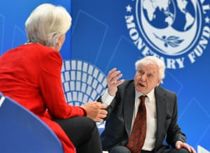 Attenborough taking part in a discussion with Christine Lagarde, managing director of the Internation Monetary Fund, in Washington earlier this year.