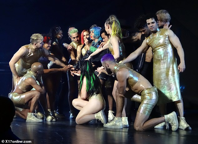 Just the pros: This time Gaga left it to her dancers to provide the onstage support
