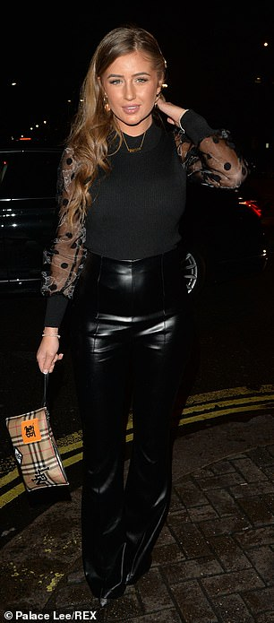 Dressed to impress: Georgia, who appeared on the fourth series of Love Island looked equally as stylish for the outing as she rocked an all-black ensemble