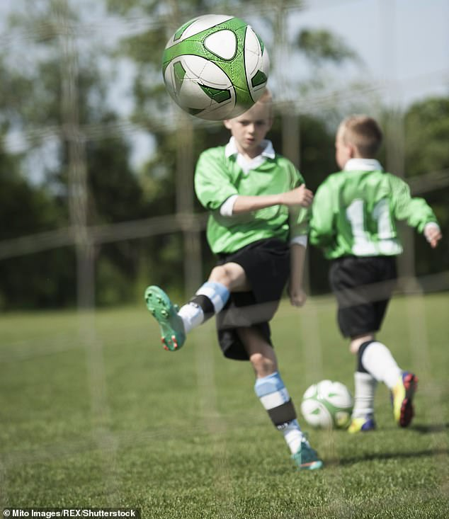 In 2015 the United States Soccer Federation announced a pioneering ban on headers for children aged ten and under, and a limit on the same practice for children aged 11 to 13 (stock image)
