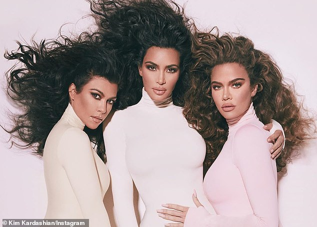 Gorgeous:The collaboration, called the Diamonds Collection by Kourtney x Kim x Khloe, was revealed alongside a snap from the photo shoot - with Khloe rocking brunette tresses