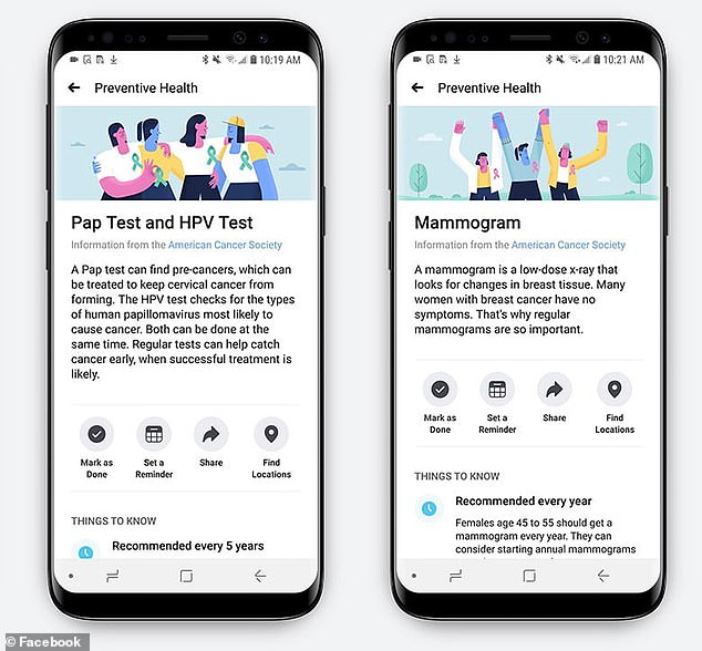 Preventive Health will allow people to set up reminders for tests and tell users where nearby pharmacies are for getting flu shots
