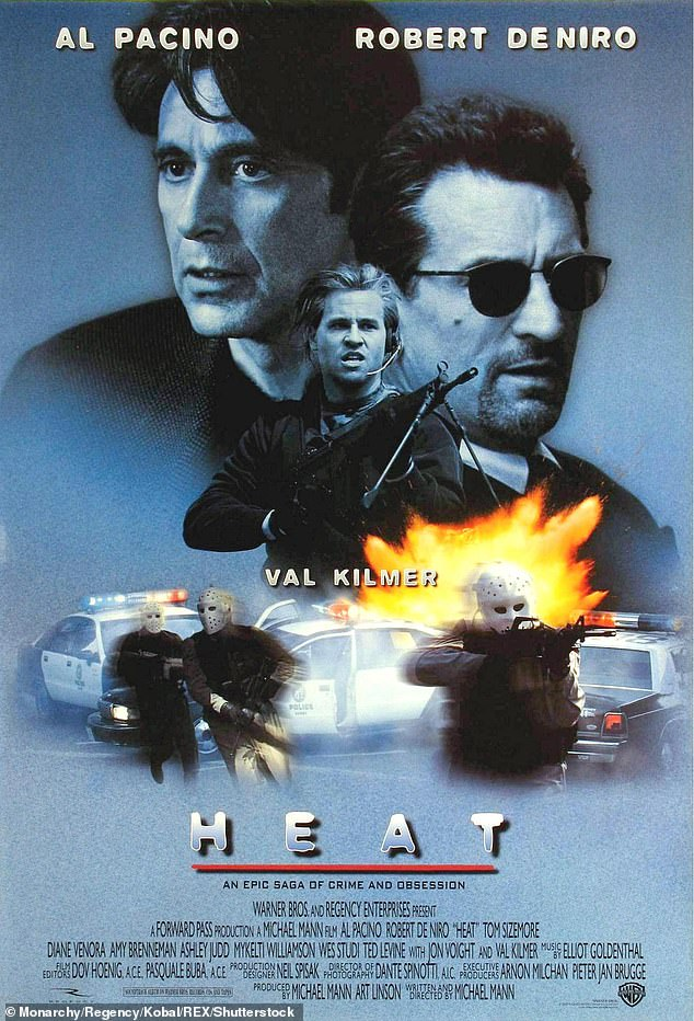 Back when: Pacino and Kilmer, along with Robert de Niro, starred in Michael Mann's classic crime thriller set in Los Angeles