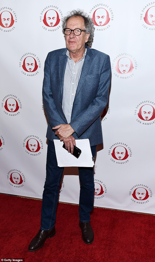 Supporter of the bard: Australian actor Geoffrey Rush, 68, also starred in the one-night only staged read, playing the part of Antonio