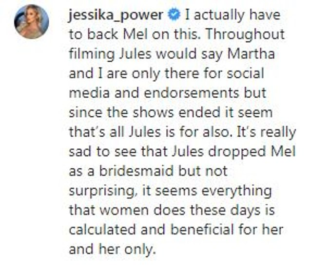 She's not holding back! Responding to an article about Jules' falling out with Melissa, Jessika labelled her rival bride 'calculating' and a hypocrite. Pictured: Jessika's Instagram post
