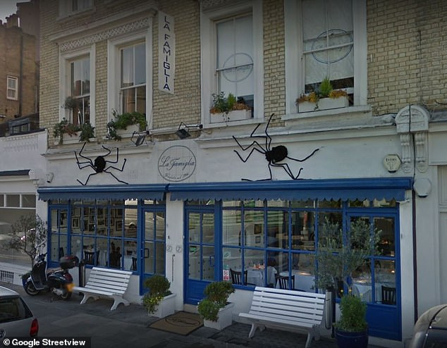 Celebrity hot spot: La Famiglia has hosted stars from around the world with the likes of Princess Margaret, Brigitte Bardot and Michael Caine dining at the Chelsea eatery over the years (pictured on Google Street View)