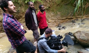 Director Chris Phillips and cinematographer Michael Latham behind the scenes filming Guardian Documentary 'Lost Rambos'