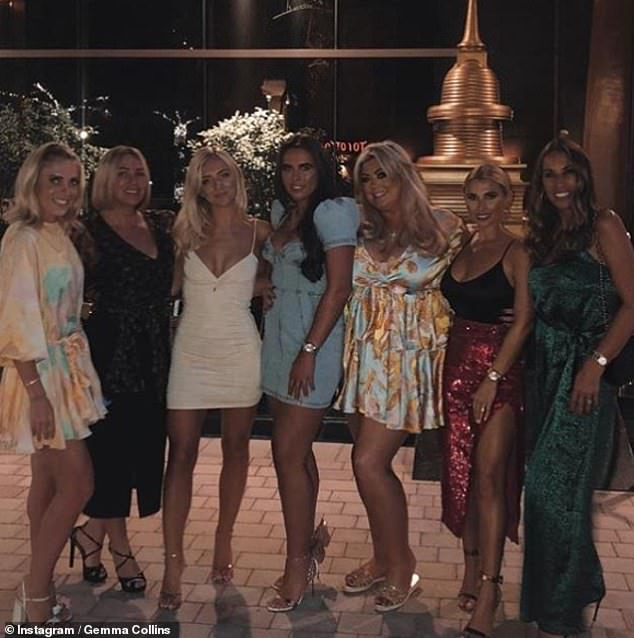 Girls trip: The GC, third right, has shared several glimpses into her Dubai holiday with pals including fellow TOWIE star Billie, 29, second right, who was sporting a sparkly red skirt