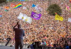 David Attenborough addresses the crowd from the Pyramid Stage, June 2019.