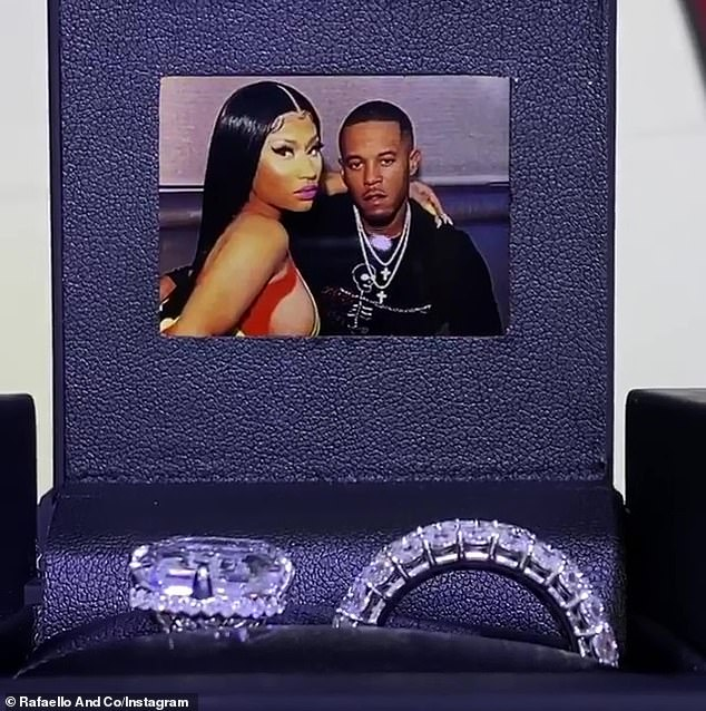And now for a closeup: Jewelers at Rafaello said that Nicki's new husband Kenneth Petty oversaw the design of the wedding band as well as the finished piece's delivery, handing over what is estimated to be $1.1 million