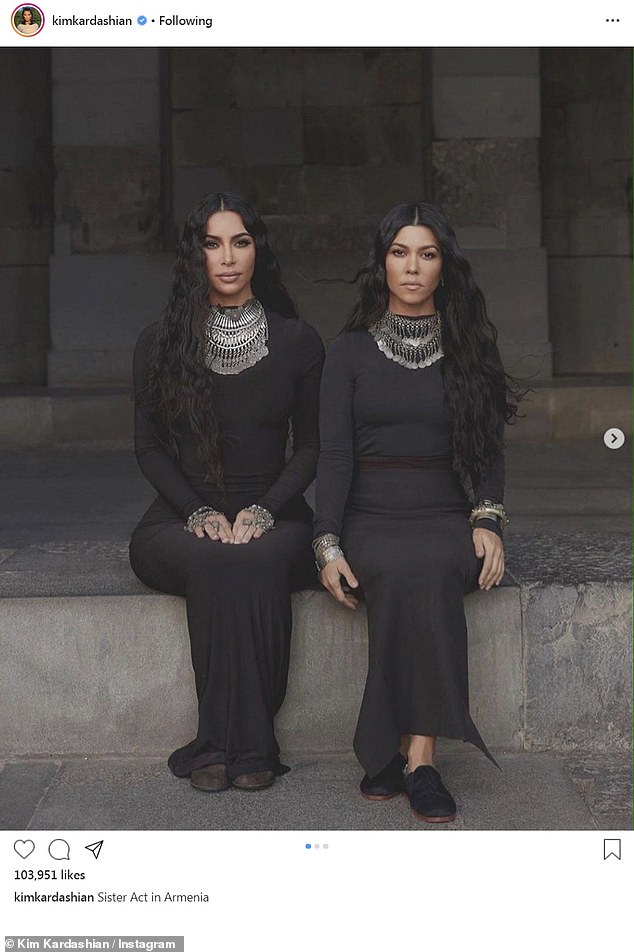 Sister act: Kim also shared a series of snaps from the trip that also featured her sister Kourtney