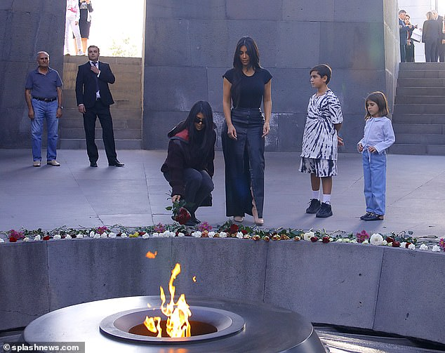 Bearing witness: Kim and her sister Kourtney visited the Armenian Genocide Memorial in Yerevan on October 9th