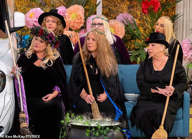 Spellbound: Elsewhere on the spooky-themed show, the two presenters took part in a spiritual prayer with 'The Real Witches Of Eastchurch', who were guests on the programme