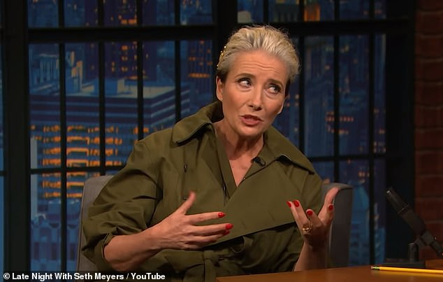 Inspiration: Emma Thompson, 60, revealed that George Micheal gave his blessing for film Last Christmas, which is inspired by the Wham! star's music, while she was appearing on Late Night With Seth Myers on Tuesday