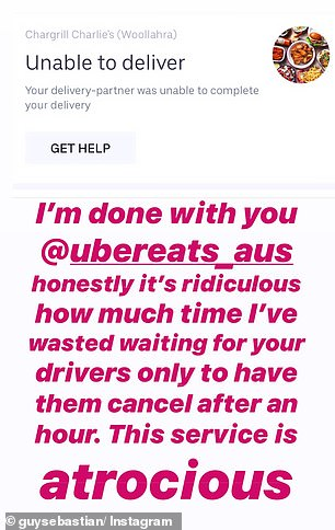 Oh, no! Guy Sebastian has publicly complained about Uber Eats after the food delivery service repeatedly cancelled his order from Chargrill Charlie's