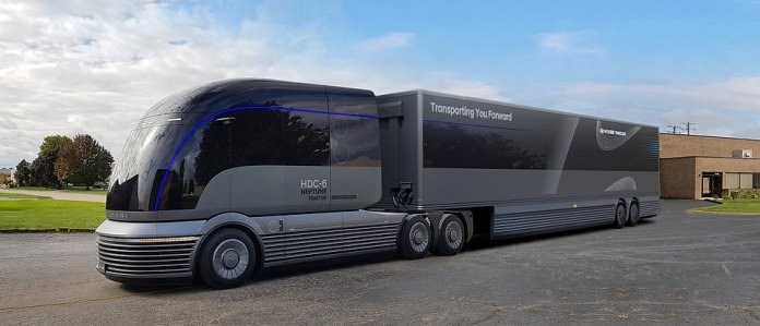 Hyundai have released a driverless, hydrogen-powdered heavy goods lorry that looks like a high-speed 'streamliner' train - the Hyundai HDC-6 NEPTUNE