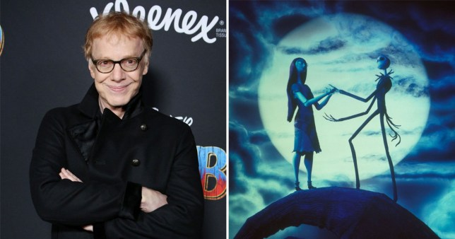 a shot from the nightmare before christmas next to a picture of Danny Elfman