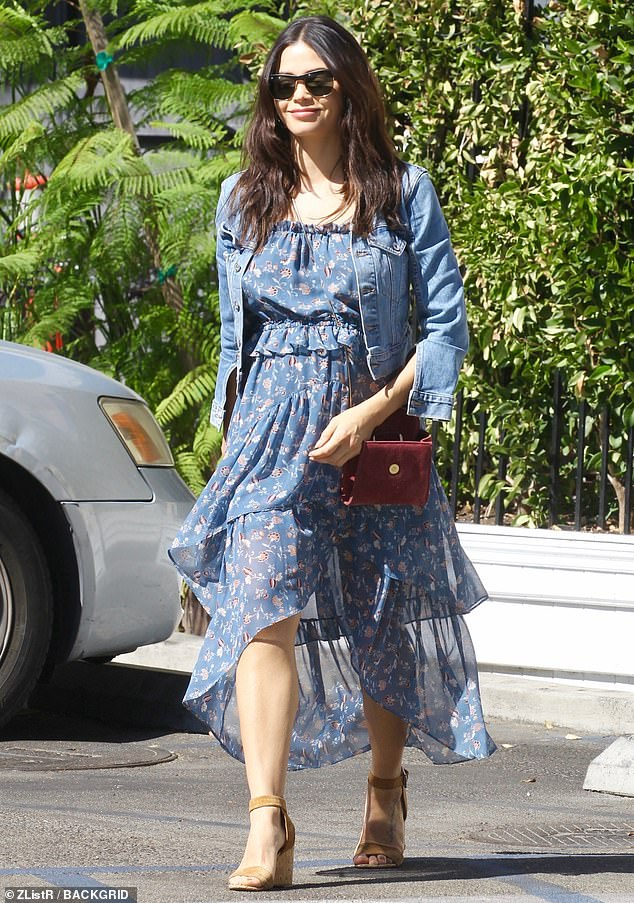 Heading out: Jenna Dewan stepped out for some lunch on Tuesday afternoon wearing a blue dress and a denim jacket