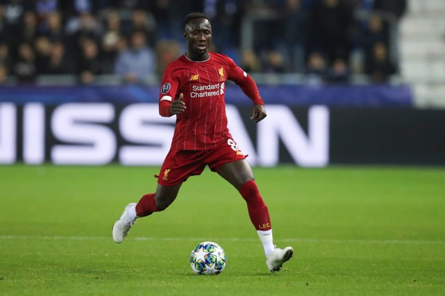 Naby Keita plays the ball during a match for Liverpool