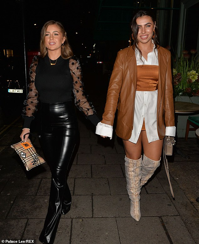 Delightful duo:Francesca Allen displayed her stunning sense of style as she headed to Sexy Fish in Mayfair with fellow Love Island star Georgia Steel on Thursday