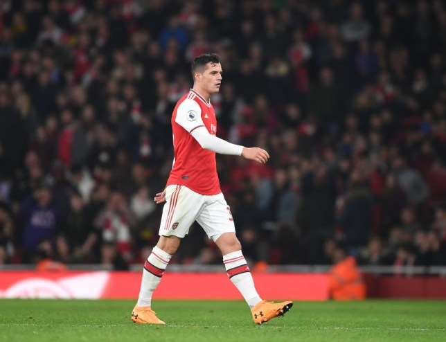 Granit Xhaka trudges off the pitch during Arsenal's draw against Crystal Palace