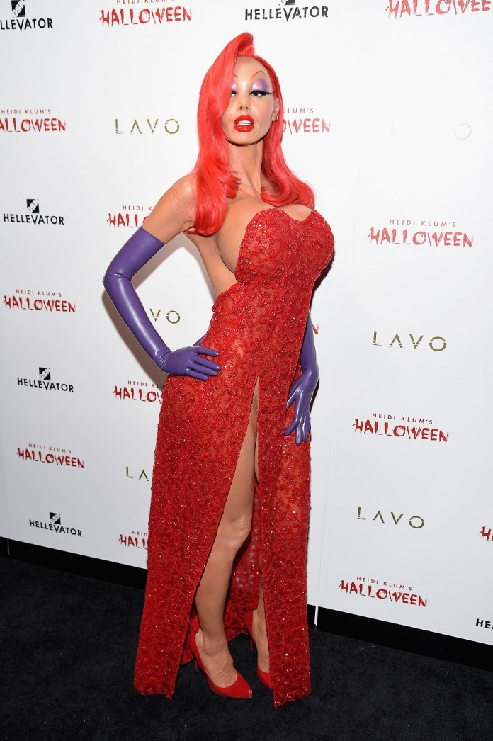 Red hot in 2015: Heidi as Jessica Rabbit at the 16th Annual Halloween Party in New York City