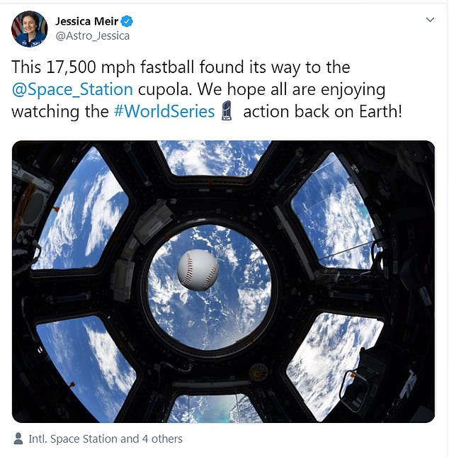 Later, Meir tweeted a photo in honor of the World Series, showing the baseball floating in front of the windows of the space station with the Earth in the background