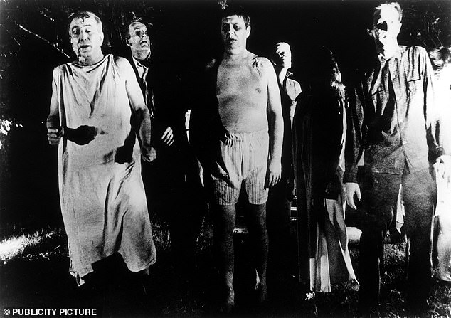 Fighting the zombies — or even sending in the army — did not work in the long-run, they found, as this led to more zombie infections and the extinction of humanity. Pictured, zombies in George A. Romero's 'Night of the Living Dead', which establish many popular zombie tropes