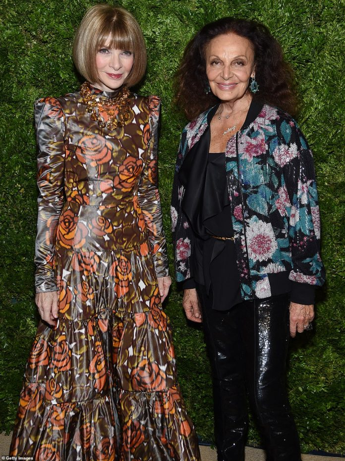 Icons: Vogue Editor-in-Chief Anna Wintour channeled '70s color schemes with her dress, which was illustrated with orange flowers and brown leaves. She was joined by legendary designer Diane von Furstenberg, who stood out in black sequined slacks and a jacket with lovely sequins arranged as pink flowers