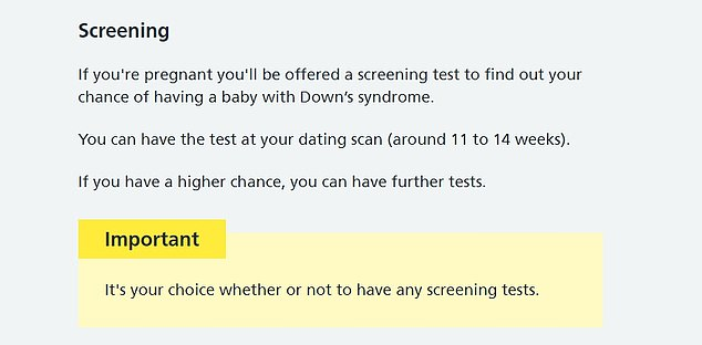 The NHS website now includes a bold yellow box which says: 'Important. It's your choice whether or not to have any screening tests'