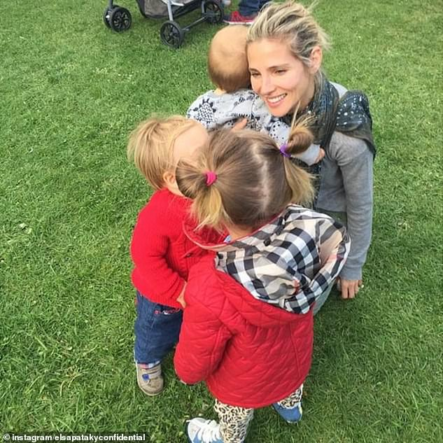 Growing brood: Elsa and Chris, who married in 2010, share three children:India Rose, seven, and twins Tristan and Sasha, aged 5. All pictured here with Elsa