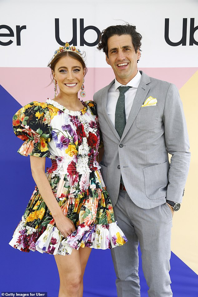 Glamour: Andy Lee's girlfriend Rebecca Harding (pictured) went for a similar approach, opting to wear a floral frock, colourful headpiece and statement earrings