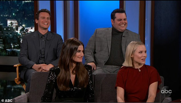 On-air: Bell and Menzel appeared on Friday's episode of Jimmy Kimmel Live with costars Jonathan Groff, 34, and Josh Gad, 38, to discuss the long-anticipated sequel to Frozen