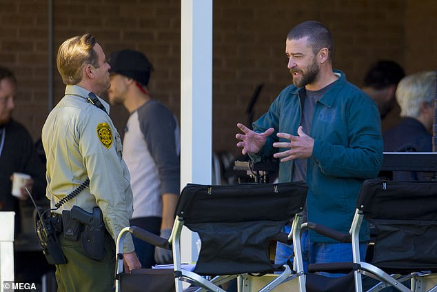 In character: Timberlake chatted with another actor between takes
