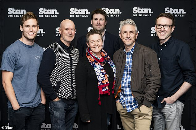 Hard at work: Production started this week in Victoria, with Jacki Weaver, Bryan Brown and Phoebe Tonkin all returning. Pictured: Scott Lee, Gary Sweet, Genevieve Morris, Nick Forward, Greg McLean and Glen Dolman