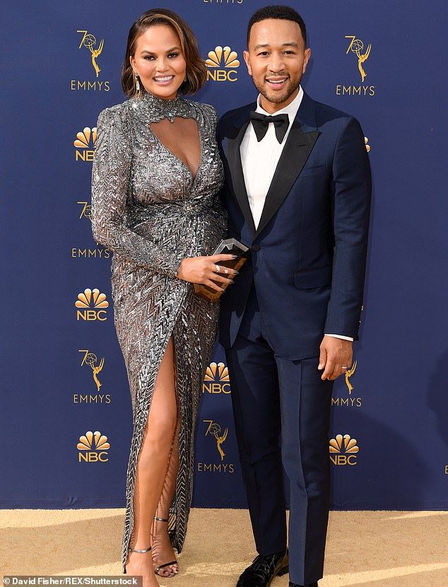 Cute couple: Chrissy and John, shown in September 2018 in Los Angeles, have been married since 2013