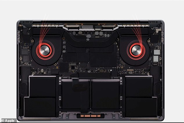 The MacBook Pro has been designed with an advanced thermal architecture (pictured) that allows the system to run at higher power for a longer period of time. The design boasts extended blades along with larger air vents that result in a 28 percent increase in airflow