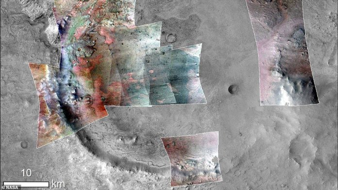 The orbiter's Compact Reconnaissance Imaging Spectrometer for Mars instrument, or CRISM, helped produce colorful mineral maps of the 'bathtub ring', which is where scientists spotted carbonates