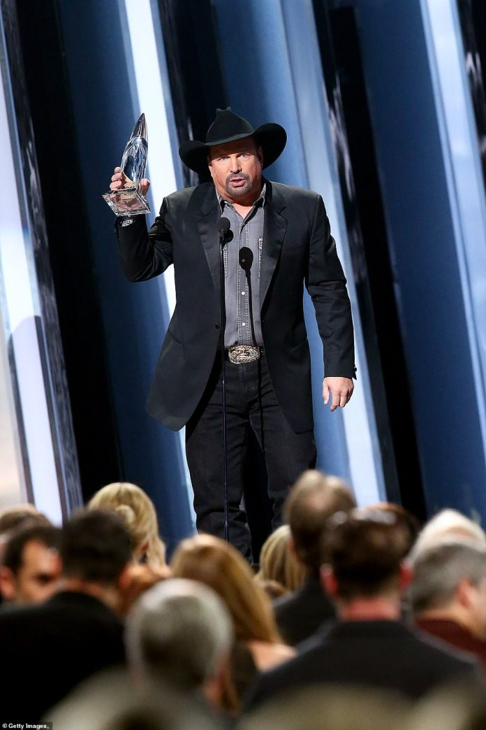 Entertainer: Despite the big wins by female artists throughout the night, it was country legend Garth Brooks who won the biggest award of the night, Entertainer Of the Year, despite having not released an album since 2016's Gunslinger