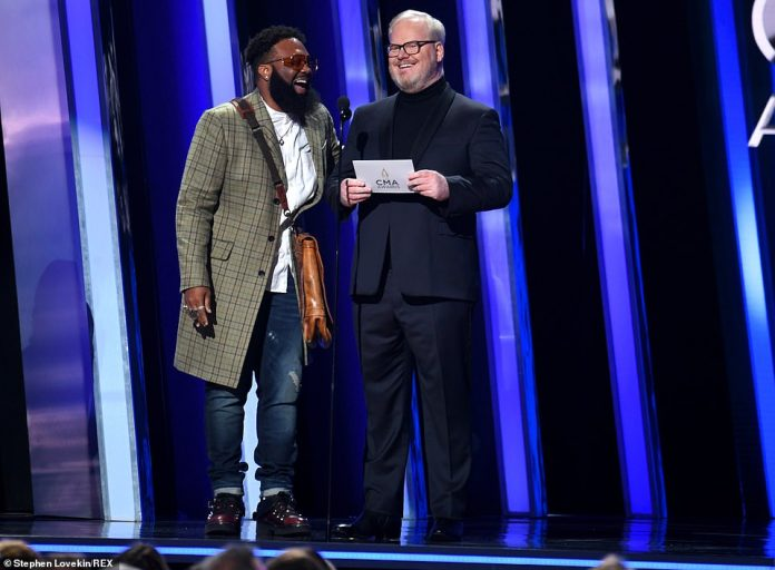 Presenters: Blanco Brown and Jim Gaffigan took the stage, with Blanco asking if he'd try the 'Git Up Challenge' but Gaffigan said he had too much Nashville hot chicken