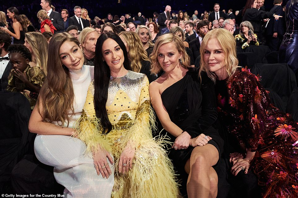All smiles: Gigi Hadid, Kacey Musgraves, Reese Witherspoon and Nicole Kidman are all smiles at the CMAs