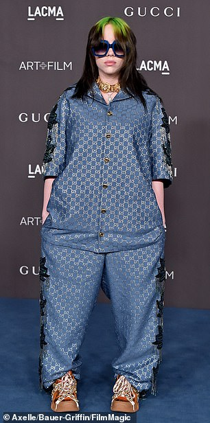 Fashionista? Another tweet targeted Bad Guy hitmaker Billie Eilish's baggy, sporty sense of style (pictured November 2)